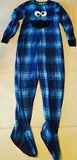 Sesame Street COOKIE MONSTER One Piece Fleece Footed Pajamas Costume S LAST ONE