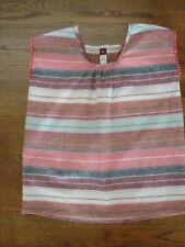 Tea Ss Striped Linen Red, Brown,Cream Boho Top -Girls size 10