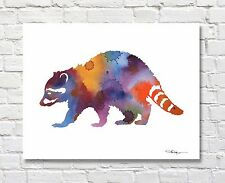 Raccoon Contemporary Watercolor ART Print by Artist DJR