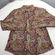 Eddie Bauer Women's Blouse Paisley Pink Burgundy Button Front All Cotton Size M