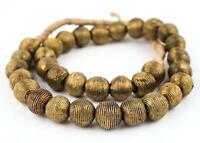 Wound Round Brass Beads 17mm Ghana African Large Hole 25 Inch Strand Handmade