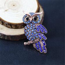 Hot Bridal Owl Gold Pin Bouquet Vintage Blue Rhinestone Wedding Brooches NL