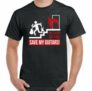 Guitar T-Shirt Guitarist Acoustic Electric In Case Of Fire Save My Mens Funny
