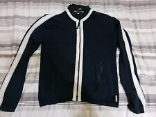 Mens Armani Jeans Long Sleeve Knitted Jacket Top Stripe Navy Blue Good Condition