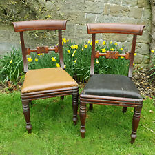 William IV Pair of Bar Back Mahogany Dining Chairs C1835 (Regency Victorian)