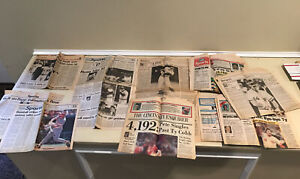 Large Lot Pete Rose Hit Record 4192, Other Rose, Newspapers 1985