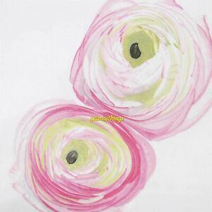 New Yves Delorme Etrerose Floral Pink White F/ Q Flat Sheet 100% Egyptian Cotton
