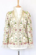 OSCAR DE LA RENTA floral embroidered bead sequin chiffon pleat ruffle UK14 US10