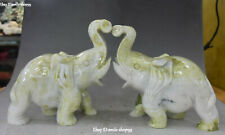 Rare Natural Green Jade Carving Friendly Zodiac Year Elephant Animal Statue Pair