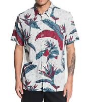 Quiksilver Mens Shirt White Size 2XL Tropical Leaf Print Button Up $68- #300