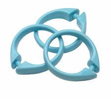 Plastic Shower Curtain Rings/Hooks: 12 Piece Set, Snap Closure, LIGHT BLUE
