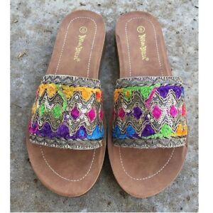 Multicolor Boho Embellished Embroidered Gold Applique Slide Slip On Sandals Flat