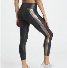 Spanx Faux Leather 7/8 Track Metallic Black Stripe Legging Size XS