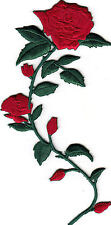 LONG STEM RED ROSE(LEFT) - FLOWERS - GARDEN - Iron On Embroidered Applique Patch