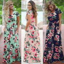 Womens Long Maxi Dress Short Printing Sleeve Evening Party Summer Beach Sundress