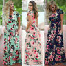 Womens Long Maxi Dress Short Printing Sleeve Evening Party Summer Beach Sundress