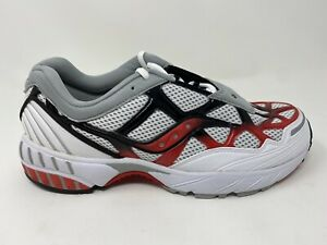 Saucony Men's Grid Web Sneaker, White/Grey/Red, 9, Free Shipping!