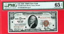 $10 1929 FRBN New York PMG 65 GEM UNC EPQ 1860-B NATIONAL CURRENCY B03408198A