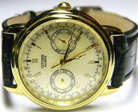 mens Citizen Triple Calendar Day Date Month Pointer Gold Plated dress watch 3655