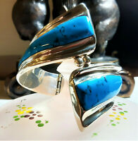 Vintage Sterling Silver Turquoise Hinged Bypas Bracelet Mexico Taxco B191 52g $7
