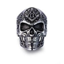 Jewelry Masonic Gold Sign Finger Rings New Mens Skull Free-Mason Silver Fashion