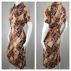 Vintage Dress Size 12 Hawaiian Tiki Girl 50s Style Rockabilly Summer Kitsch
