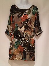 GLAM FLORAL DRESS BROWN MULTI COLOR SIZE S NWT ORIG $72