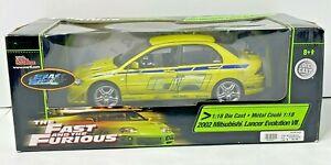 Fast and Furious 1:18 Die Cast 2002 Mitsubishi Lancer Evolution VII Race Car NIB