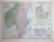 1920 LARGE MAP NORWAY & SWEDEN SOUTH & CENTRAL ~ DENMARK ICELAND COPENHAGEN