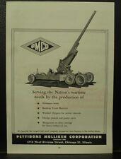 PETTIBONE MULLIKEN Chicago U.S.ARMY artillery Pratt & Whitney Taps 1945 WW2 ADS
