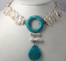 Jay King DTR Sterling Silver Natural Turquoise Rice Pearl Lariat Necklace