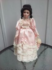 Porcelain Girl Doll Umbrella Pink Lace Dress Porcelain Neck Jointed Head 19in