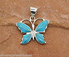 Sleeping Beauty Turquoise Inlay 925 Sterling Silver Butterfly Pendant Necklace