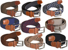 Mens Expandable Fabric Stretch Belt Woven Braided One Size Comfortable 30-38
