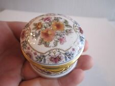 "China Craft Enamel Trinket Box - Flowers - 2 1/4"" In Diameter"