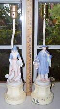 Antique Porcelian Figure Lamps - Male and Female Quaker Porcelain Figural Lamps