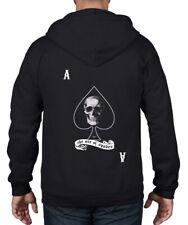 Ace Of Spades Skull Full Zip Hoodie - Goth Biker Emo