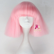 Short Kinky Straight Lady Gaga Wig Black and Blonde Synthetic Anime Cosplay Wig