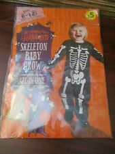 Toddler Halloween Costume Age 6-12 months Skeleton Romper Suit  (NEW)
