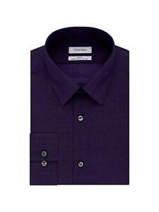 CALVIN KLEIN Mens Purple Collared Slim Fit Dress Shirt S 14.5- 32/33