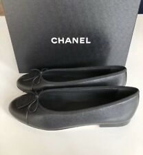 $795 CHANEL 2018 CLASSIC BLACK CAVIAR LEATHER BALLET FLATS 38