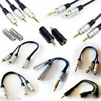 "PRO - 3.5mm / RCA / 6.35MM / 1/4"" - CABLES ADAPTERS SPLITTER COUPLERS EXTENSIONS"