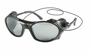 Tactical Sunglasses With Leather Wind Guard - Black Glacier Goggles