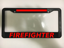FIRE FIGHTER FIREFIGHTER RESCUE THIN RED LINE Black License Plate Frame NEW
