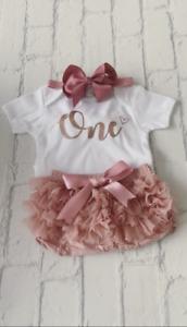 Girls Frilly Tutu Knicker Cake Smash 1st First Birthday Dusky Pink Rose Gold