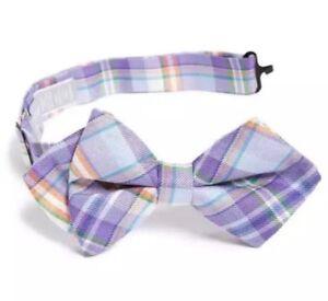 Nordstrom Purple 'Popsicle' Plaid Cotton & Silk Bow Tie 4219