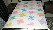 VTG 40'S 64X78 PASTEL FEED SACK FABRIC WHIRLYGIG? PATTERN WELL DONE COTTON QUILT