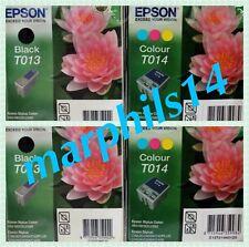 EPSON T013 x 2 & T014 x 2 Nero & Cartucce Di Inchiostro a Colori-ORIGINALE. totale 4 in (ca. 10.16 cm)