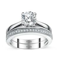 925 Sterling Silver Solitaire with Milgrain Band Engagement Wedding Ring Set
