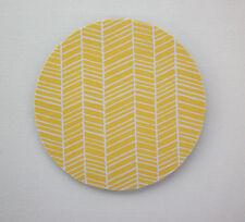 Round Computer Mouse Pad / Mat - yellow herringbone chevron ghe